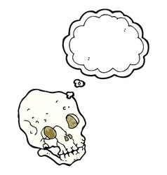 Cartoon spooky skull with thought bubble vector