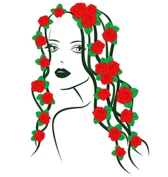 Girl with roses on hair vector