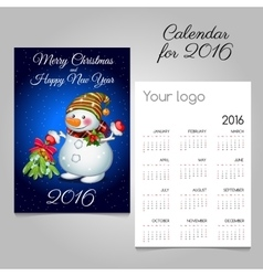Calendar 2016 with fun snowman with bouquet vector