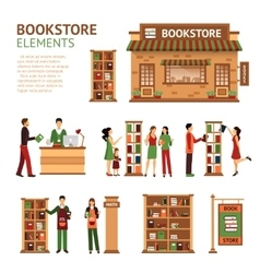 Flat bookstore elements images set vector