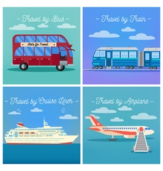 Travel banner tourism industry transportation set vector