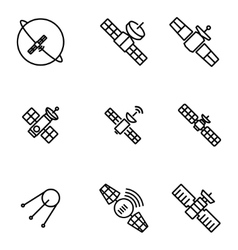 orbit satellite icons set vector image