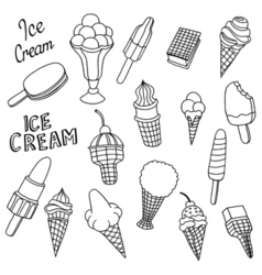 Hand drawn cartoon ice cream vector