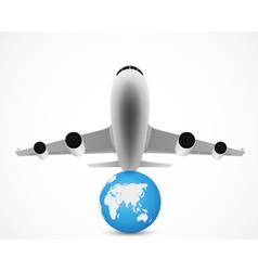 Airplane flying with world travel vector