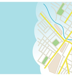 Blue background with part of city map vector