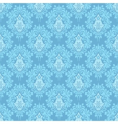 Blue damask seamless pattern background vector image vector image