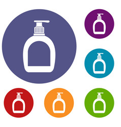 Bottle with liquid soap icons set vector