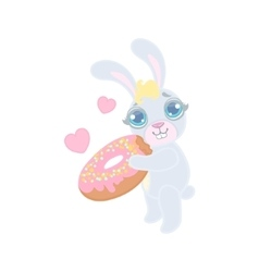 Bunny with the giant donut vector