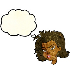 cartoon female face with thought bubble vector image vector image