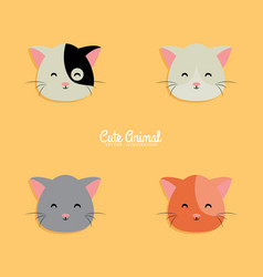 Cat cartoon faces vector