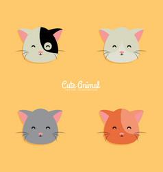 Cat cartoon faces vector