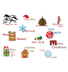 Christmas and New Year symbols vector image vector image