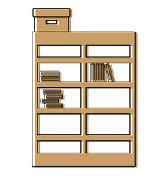 color bookcase with books inside and box archive vector image