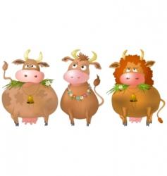 Cows set vector