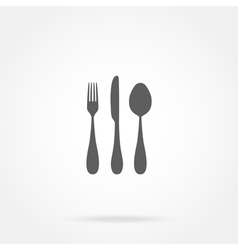 cutlery icon spoon fork knife vector image