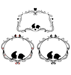 Decorative frames set with loving couple vector image vector image