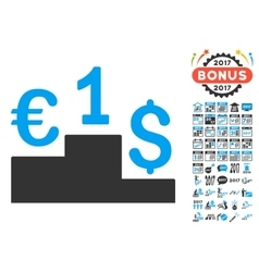 Euro dollar competition icon with 2017 year bonus vector