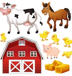 Farm animals and barn vector image vector image