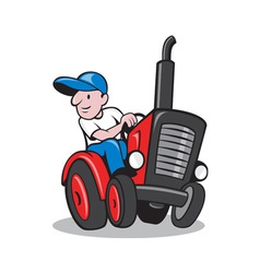 Farmer Driving Vintage Tractor Cartoon vector image vector image