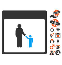 father calendar page icon with valentine bonus vector image