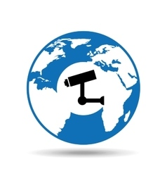 Globe world icon video surveillance design vector