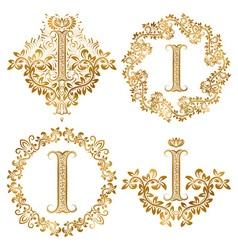 Golden letter i vintage monograms set heraldic vector