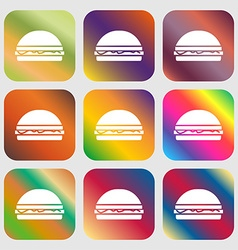 Hamburger icon sign nine buttons with bright vector