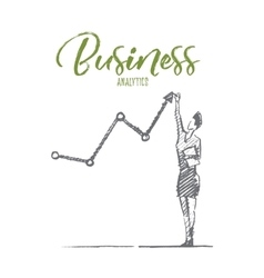 Hand drawn business woman with concept lettering vector