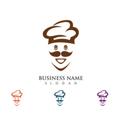 Hat chef logo template vector