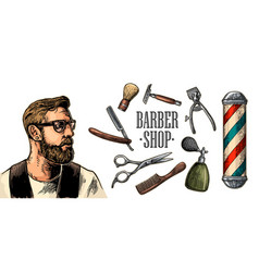 head hipster and equipment for barbershop vector image