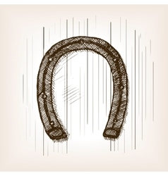 Horseshoe sketch style vector