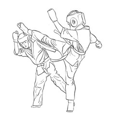 Karate fight of two boys vector