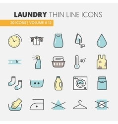 Laundry service thin line icons set vector