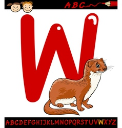 letter w for weasel cartoon vector image