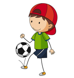 little boy playing soccer vector image vector image