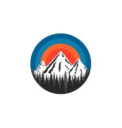 Mountain logo round shape snow-capped peaks rocks vector