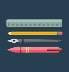paint and writing tools collection flat style vector image