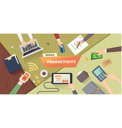 Productive office workplace productivity business vector