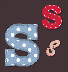 Set of stitched font - Letter S vector image vector image