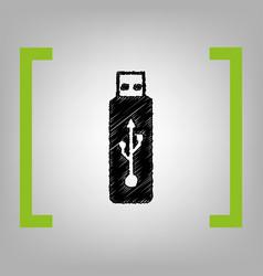 usb flash drive sign black vector image