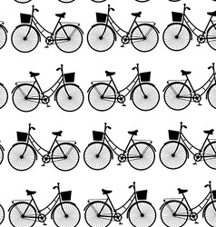 Vintage black bicycles seamless pattern black and vector image vector image