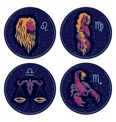 Zodiac Signs Leo Virgo Libra Scorpio vector image