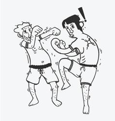 Cartoon boxing funny show muay thai vector