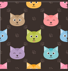 seamless pattern with cartoon cats and footprints vector image