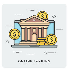 Online banking thin line concept vector