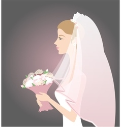 Bride with bouquet vector