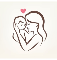 Mother and son stylized silhouette outlined sketch vector
