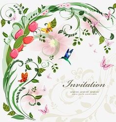 Invitation card with spring flowers with love for vector