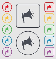 Megaphone soon icon loudspeaker symbol symbols on vector