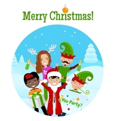 Christmas postcard with 5 characters vector